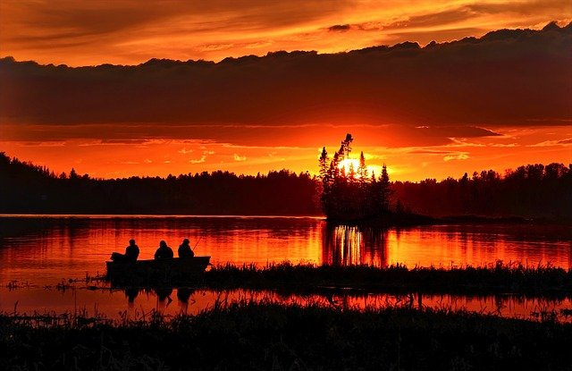 pecanje, zalazak sunca